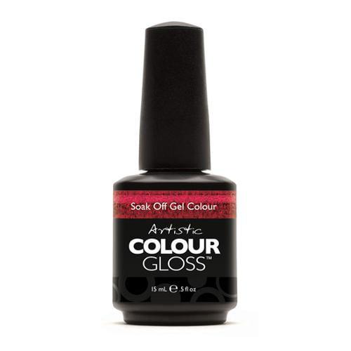 Artistic Nail Design 0.5oz Soak Off Gel Colour Nail Polish Deep Red Sparkle, HOTNESS, 3036