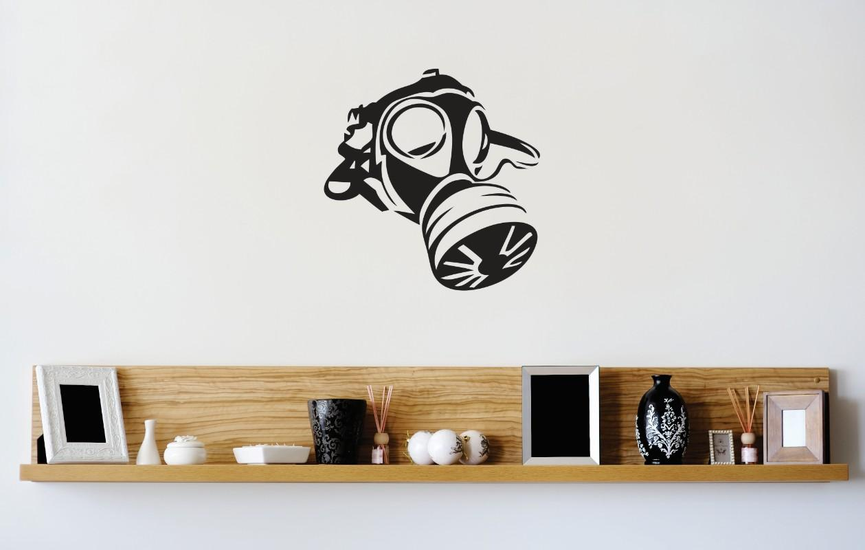 "Custom Wall Decal Vinyl Sticker : Gas Mask IMage Mural 16x16"" by Design With Vinyl"