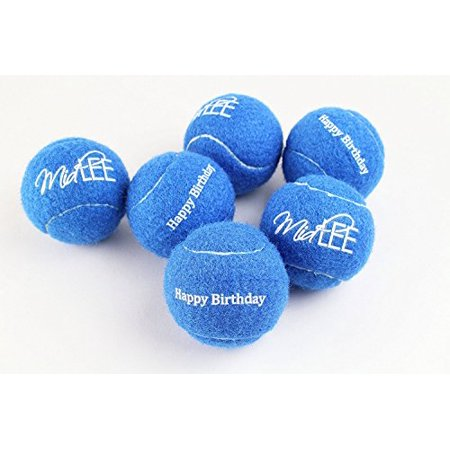 Midlee Happy Birthday Dog Tennis Balls (6 Pack) (Regular, Blue) ()