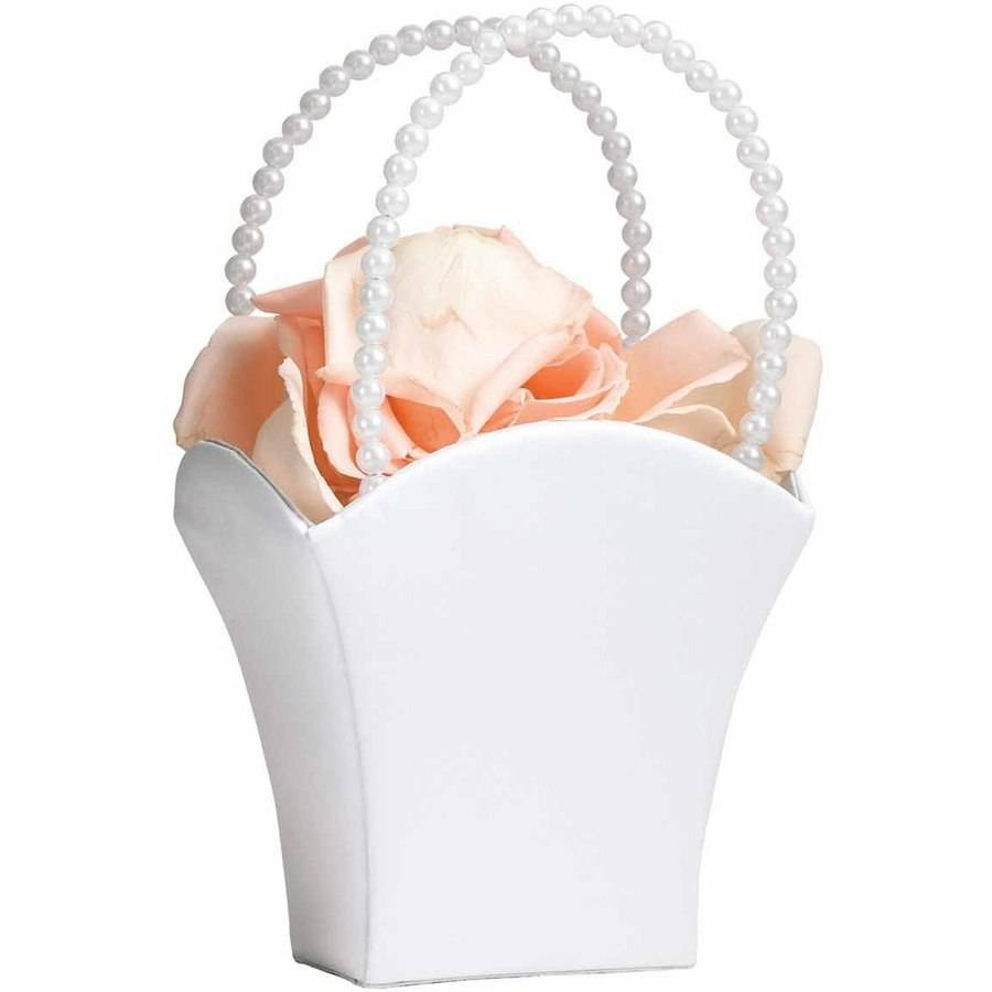 Lillian Rose White Satin Flower Girl Basket