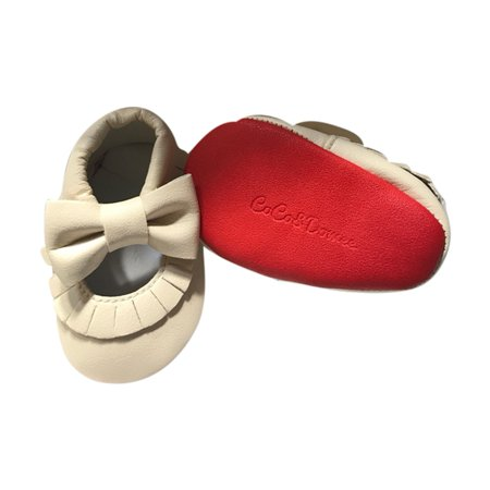Baby Girls Cream Red Soft Sole Mary Jane Bow Faux Leather Crib Shoes 3 18M