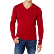 Mens Sweater Large V-Neck Contrast Embroidery L