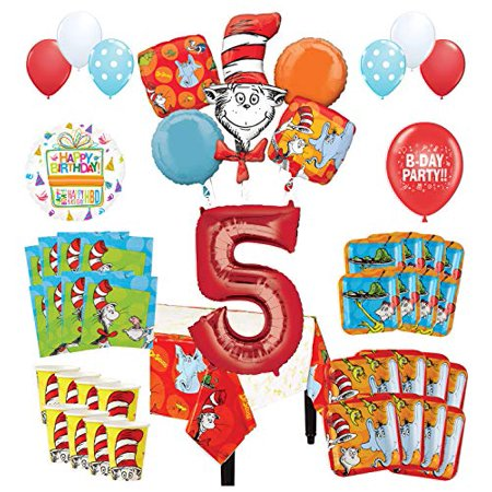 Dr Seuss Birthday Decorations (Mayflower Products Dr Seuss 5th Birthday Party Supplies 16 Guest Decoration Kit and Balloon)