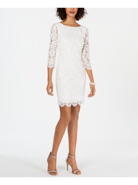 ADRIANNA PAPELL Womens White Long Sleeve Jewel Neck Above The Knee Sheath Formal Dress  Size: 6