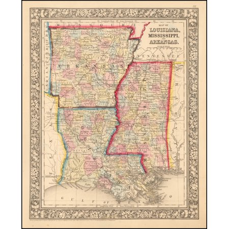 LAMINATED POSTER Map of Louisiana, Mississippi and Arkansas POSTER PRINT 24 x (Arkansas Antique Map)