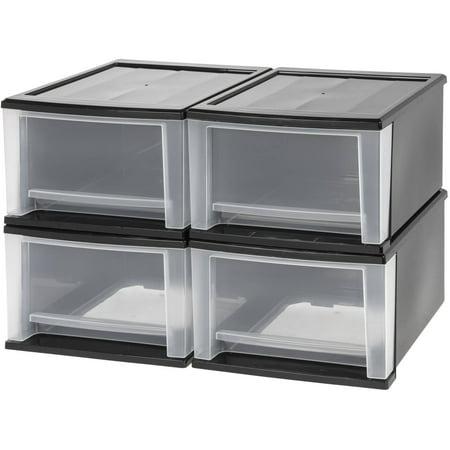 Black Dishwasher Drawer - IRIS 17 Qt. Stacking Storage Drawer, Black Set of 4