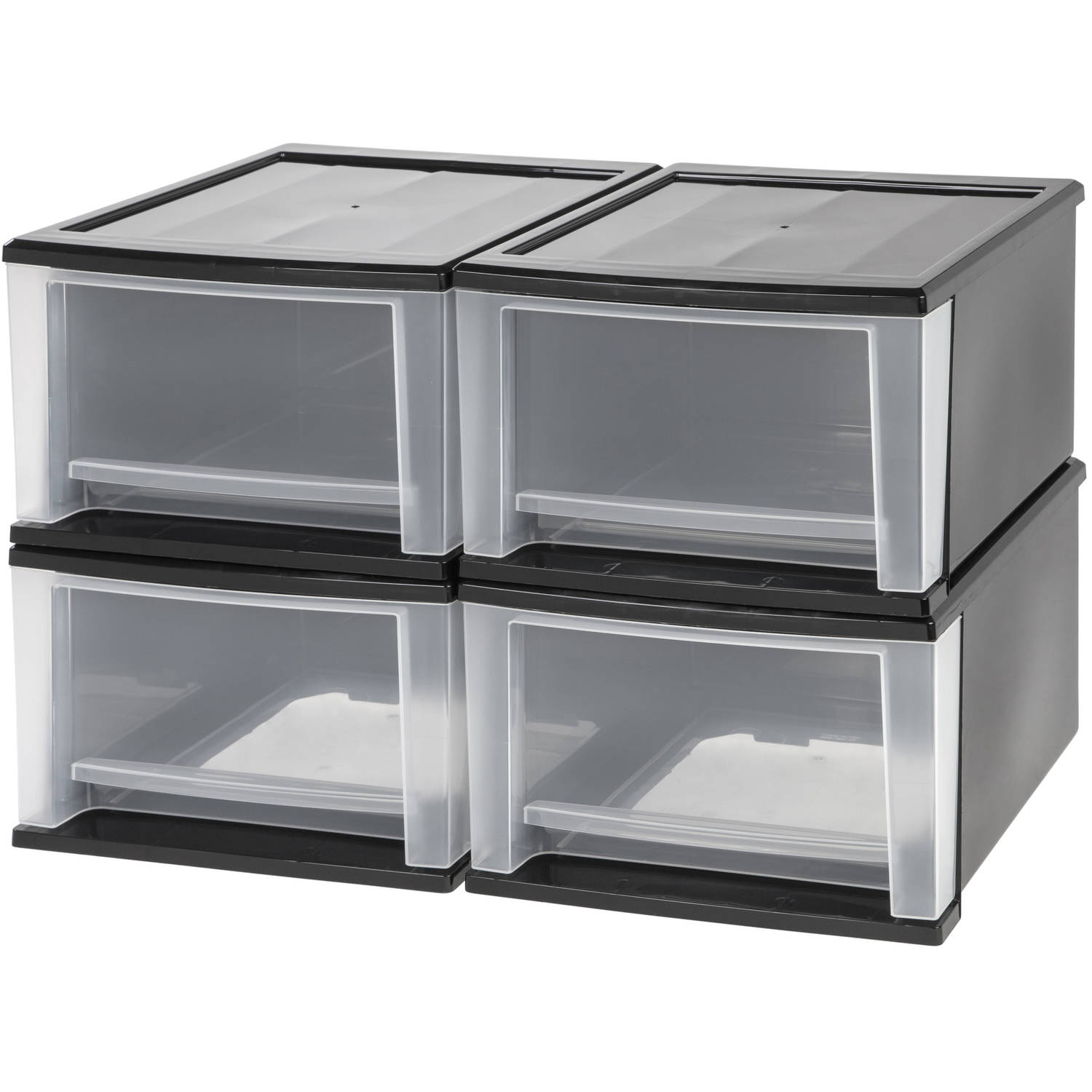 IRIS 17 Quart Stacking Drawer, 4 Pack