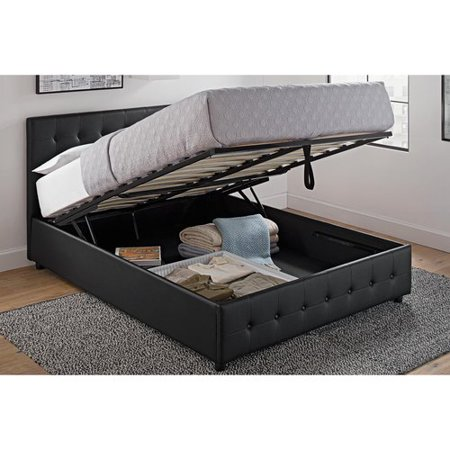 Dhp Cambridge Upholstered Bed With Storage Queen Size Black