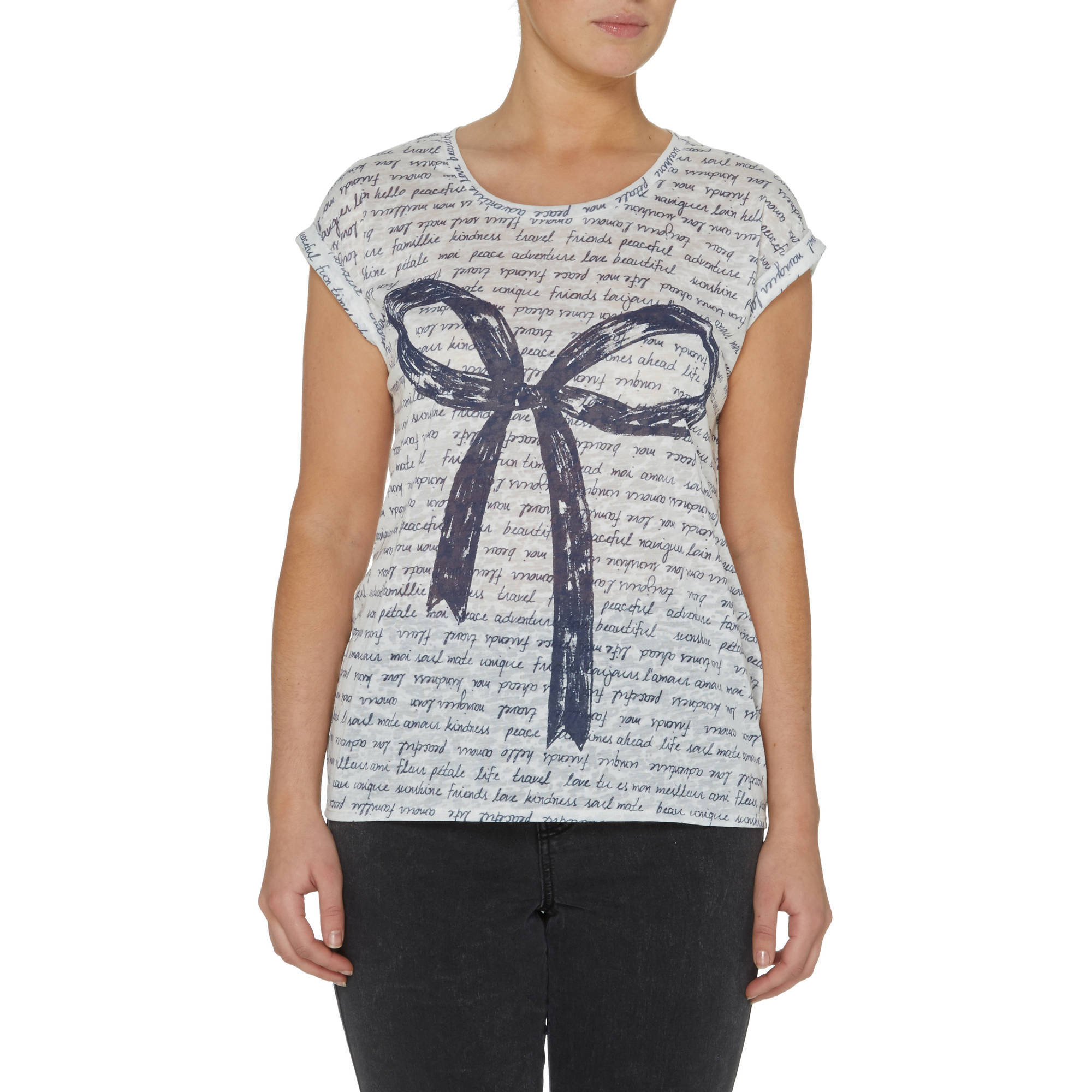 Women's Short Sleeve Bow Print T-Shirt