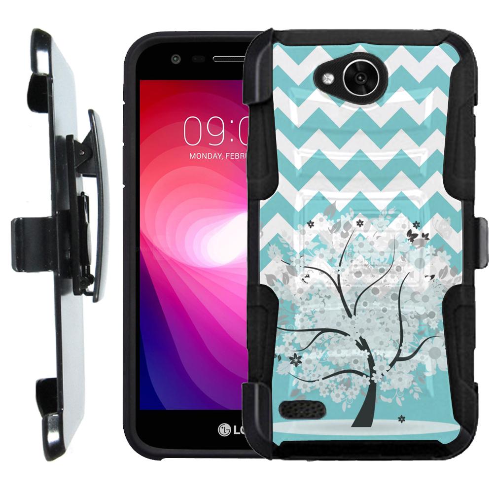 Holster case for LG X Power 2 / LG Fiesta 4G LTE, OneToughShield ® Shock Abosrbing Hybrid Bumper Case w/ Kick-Stand - Chevron/Teal/Tree