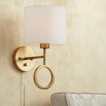 360 Lighting Wall Lamp Plug In Warm Brass Ring White Drum