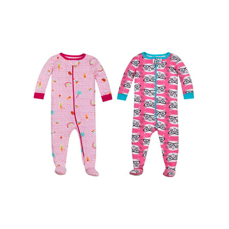 Stretch Soft Footbed - 100% Organic Cotton Footed Stretchies Pajamas, 2-pack (Baby Girls and Toddler Girls)