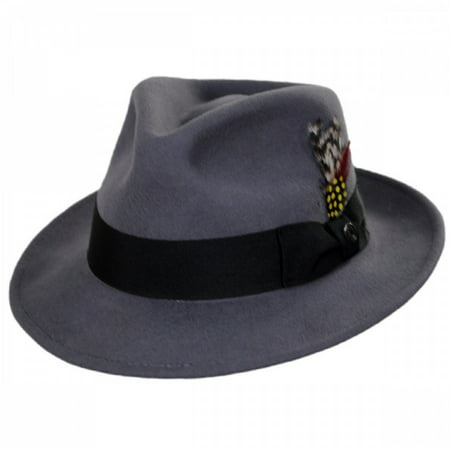 C-Crown Crushable Wool Felt Fedora Hat - XXL - (Grey Fedora Hat)
