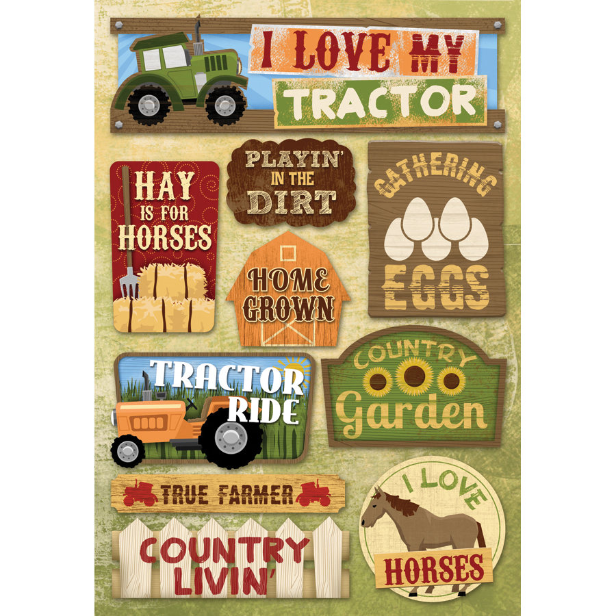 Farm Cardstock Stickers 5.5 Inch X 9 Inch-I Love My Tractor