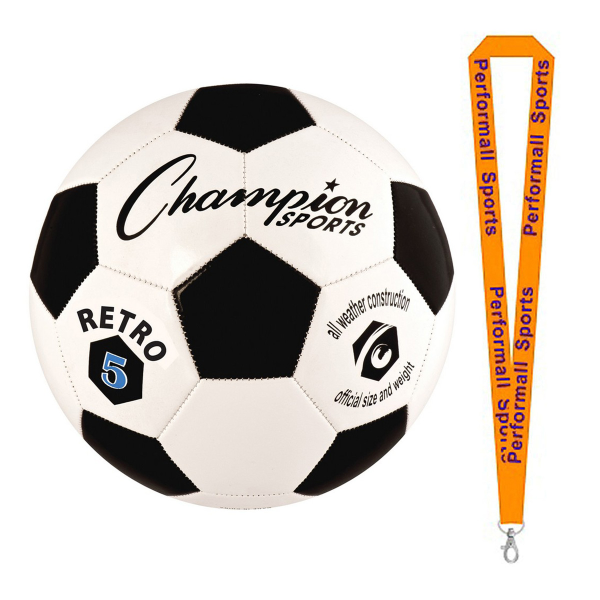 Champion Sports Bundle: Retro Soccer Ball Black / White Assorted Colors and Sizes with 1 Performall Lanyard