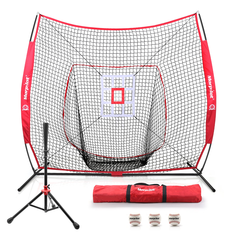 ZENY 7 x 7 Baseball Softball Practice Hitting Pitching Net with Strike Zone Target and Batting Tee,Carry Bag,Practice Equipment Batting Soft Toss Training Set