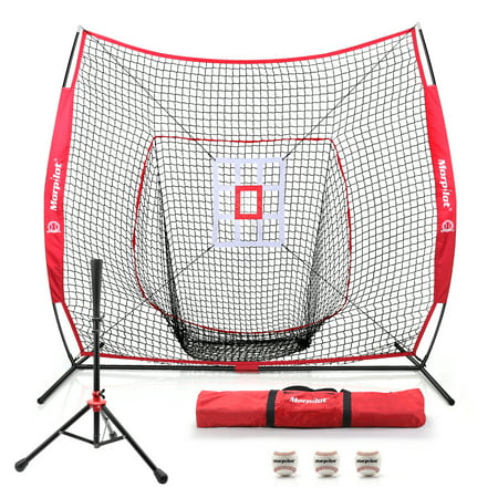 Morpilot 6pc Baseball/Softball Bundle | 7x7 Hitting Net |Sturdy club set| 3 Weighted Training Balls | Strike Zone Target | Carry Bag | Practice Batting, Pitching, Catching | Backstop Screen Equipment