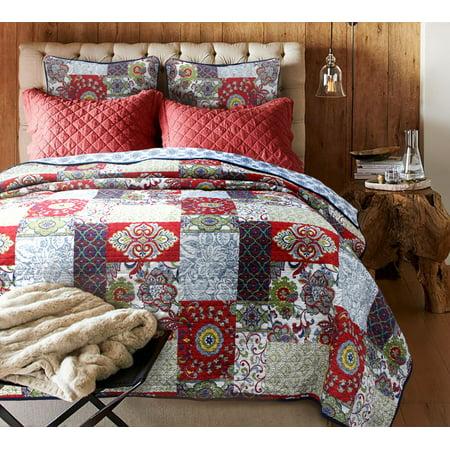 Wine Banquet 100% Hypoallergenic cotton 3 piece quarter Quilt Set Bedroom Quilt Bedding Full/Queen Size Burgundy Red Drum Set Red Wine