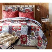 Wine Banquet 100% Hypoallergenic cotton 3 piece quarter Quilt Set Bedroom Quilt Bedding Full/Queen Size Burgundy Red