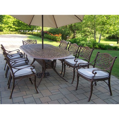 Oakland Living Mississippi Cast 82 x 42 in. Oval Patio Dining Set with Chairs & Tilting Umbrella with Stand - Seats 8