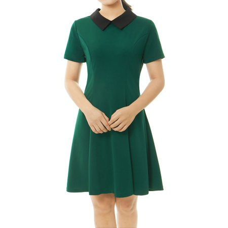 allegra k women's summer short sleeve fit and flare dress w doll collar black (size l / 12)](Dresses Size 10 12)