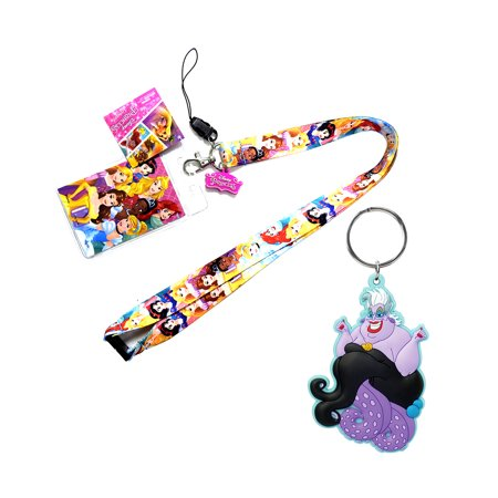 Novelty Character Accessories and Novelty Character Collectible Accessories Disney Princess Multicolor Lanyard with Soft Touch Dangle Charm and Disney Villains The Little Mermaid Ursula the Sea Witch