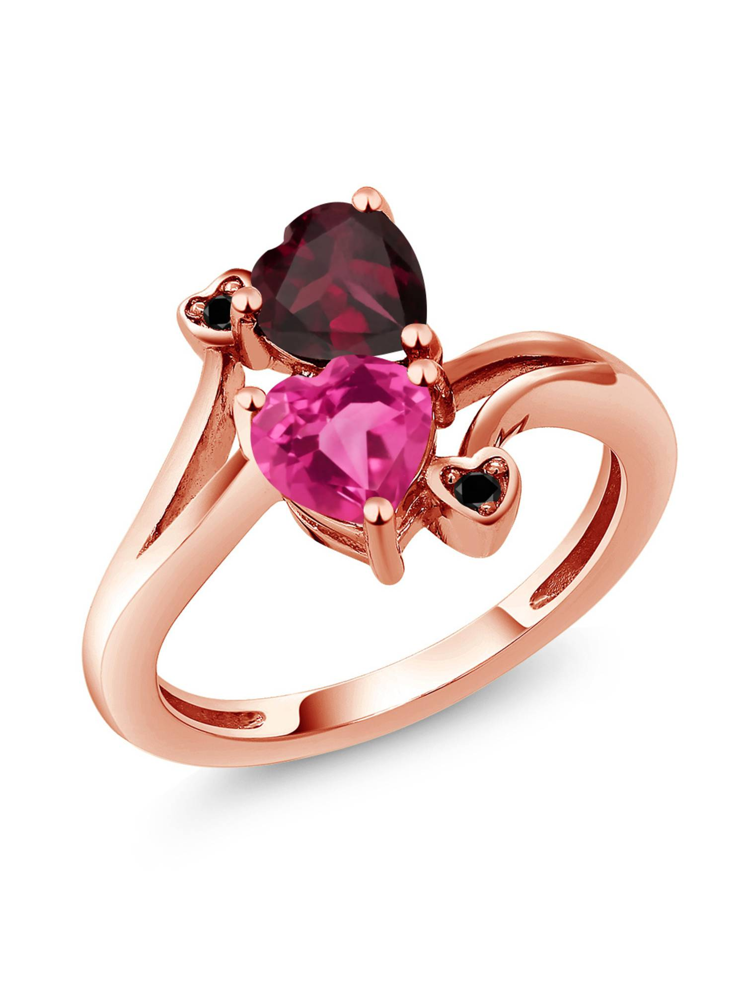 1.70 Ct Pink Mystic Topaz Red Rhodolite Garnet 18K Rose Gold Plated Silver Ring by