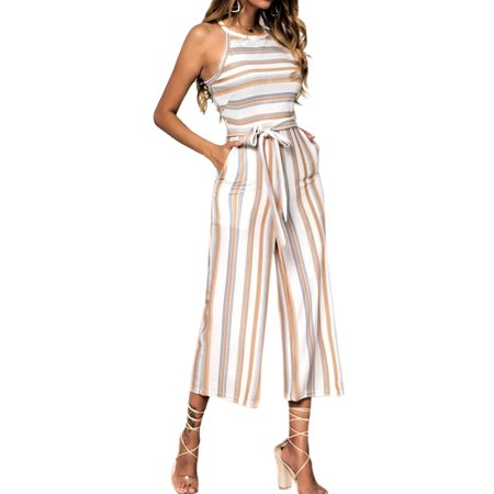 Women Wide Leg Striped Cropped Jumpsuit Strappt Tops Rompers Tie Waist Long Pants Evening Party Daily Wear Casual