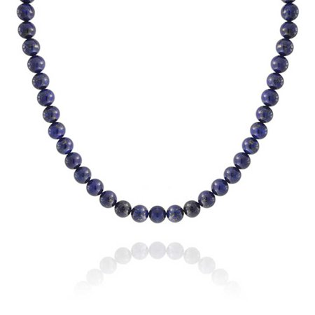 Blue Lapis Lazuli Round 10MM Bead Strand Necklace For Women For Men Silver Plated Clasp 16 Inch 18 Inch