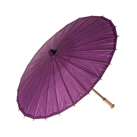 Paper Parasol (28-Inch, Plum Purple) - Chinese/Japanese Paper Umbrella - For Weddings and Personal Sun - Plum Wedding