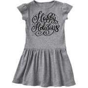 Christmas Happy Holidays Hand Lettering in Black Toddler Dress