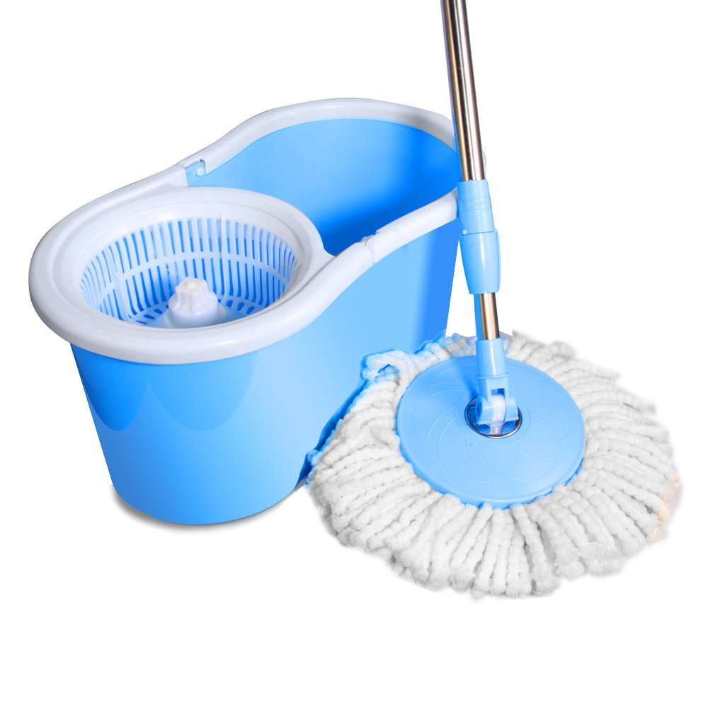 ohuhu easy wring spin mop and bucket system with 2 mop heads no foot pedal