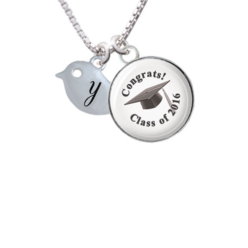 """Little Bird Initial - Y - Class of 2016 Glass Dome Necklace, 18""""+2"""""""