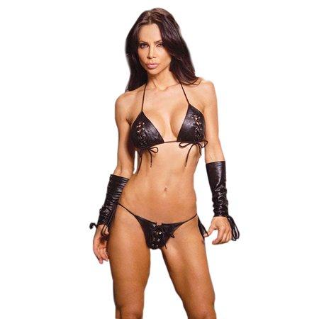 Leather Black Lace Up Bra G-String Panty 2 Piece Set