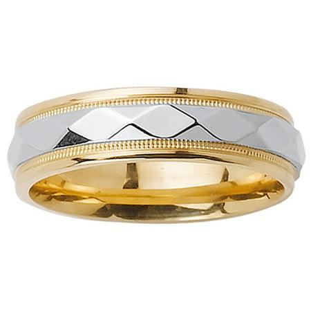(14K Two Tone Gold Pattern Modern Comfort Fit Men's Wedding Band (6mm))