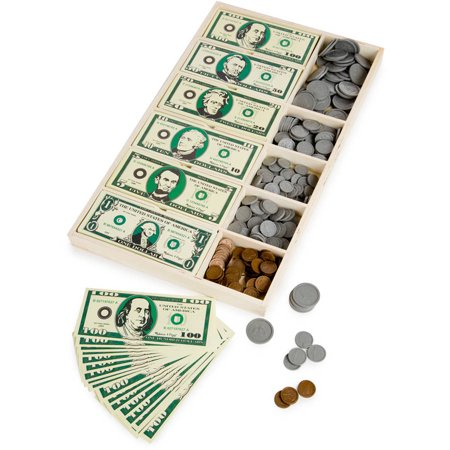 Melissa   Doug Play Money Set  Educational Toy With Paper Bills And Plastic Coins  50 Of Each Denomination  And Wooden Cash Drawer For Storage