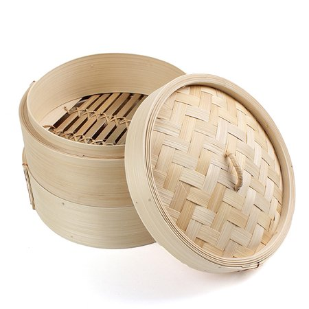 2 Tier 8-Inch Diameter Bamboo Steamer Chinese Dim Sum Basket for Cooking Food ()