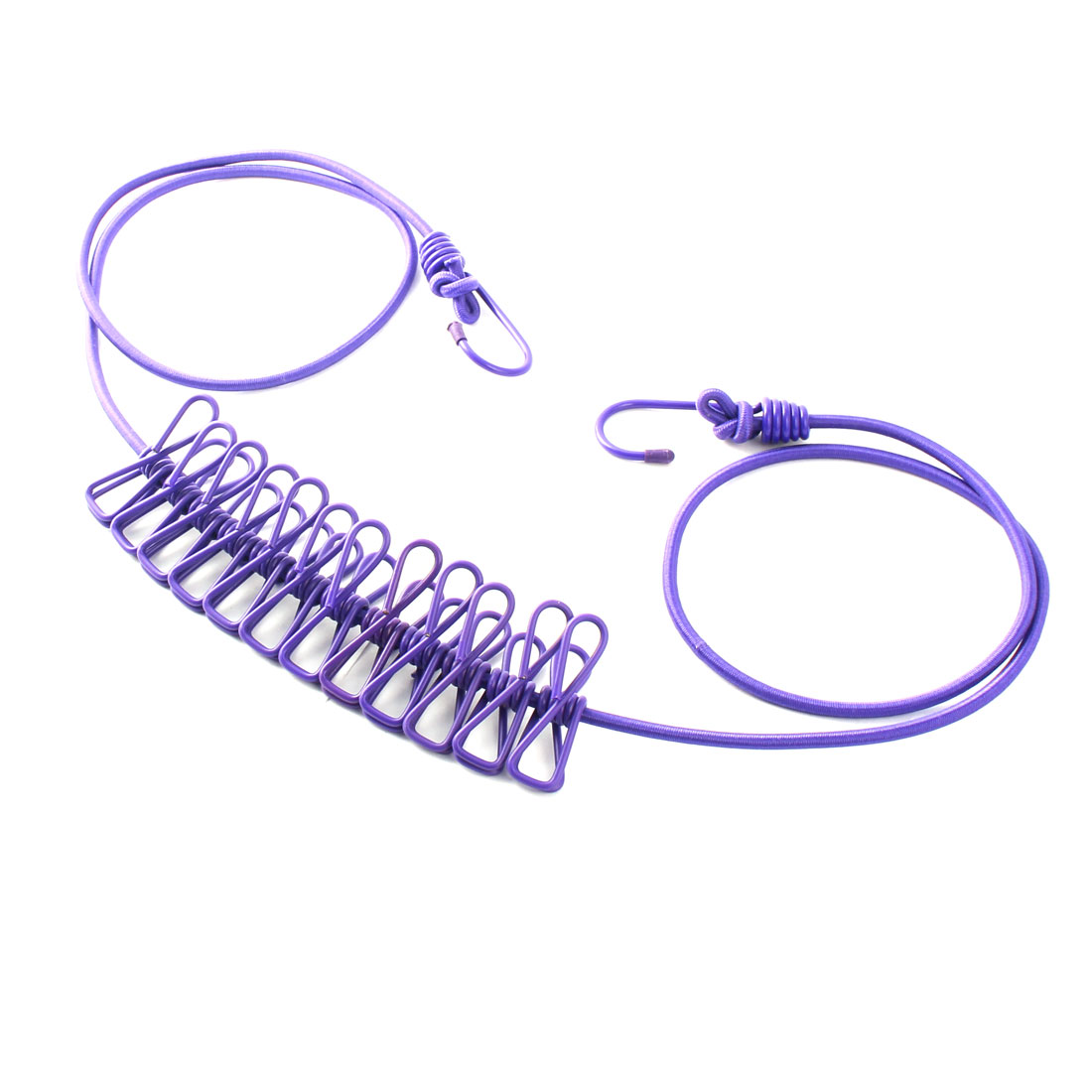 Elastic Rubber Portable Windproof 12 Clips Laundry Line Clothes Lines Purple