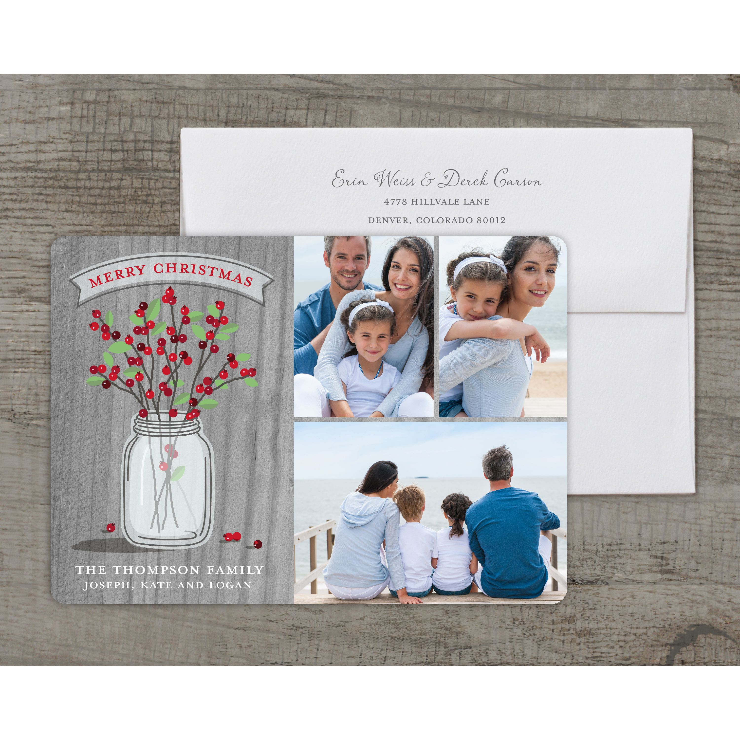 Rustic Berries - Deluxe 5x7 Personalized Holiday Christmas Card