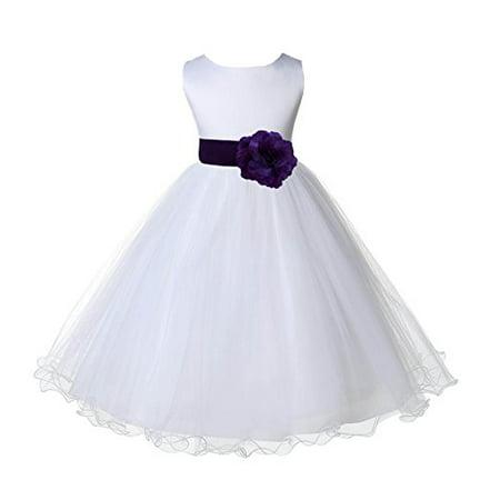 Ekidsbridal White Tulle Rattail Edge Flower Girl Dress Pageant Dresses Ballroom Gown Junior Bridesmaid Dress Birthday Girl Dress Baptism Dress Communion Dress Graduation Dress Wedding Tulle Dress 829S