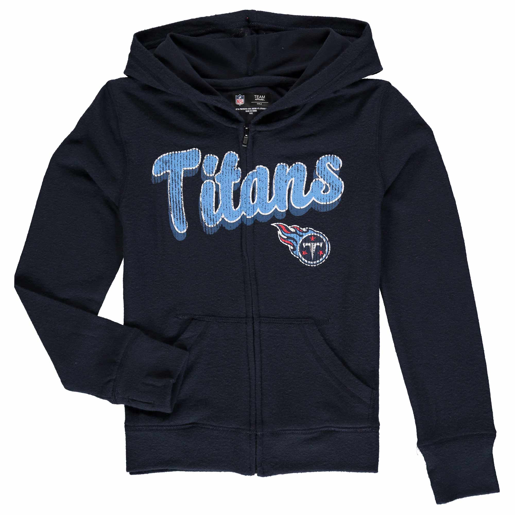Tennessee Titans 5th & Ocean by New Era Girls Youth Brushed Knit Tri-Blend Full-Zip Hoodie - Navy