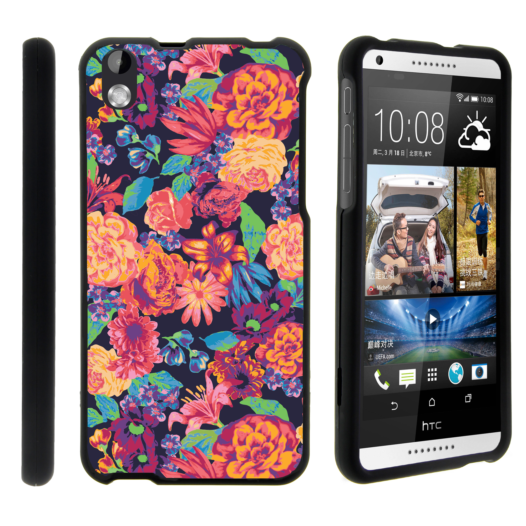 HTC Desire 816, [SNAP SHELL][Matte Black] 2 Piece Snap On Rubberized Hard Plastic Cell Phone Case with Exclusive Art - Floral Dream