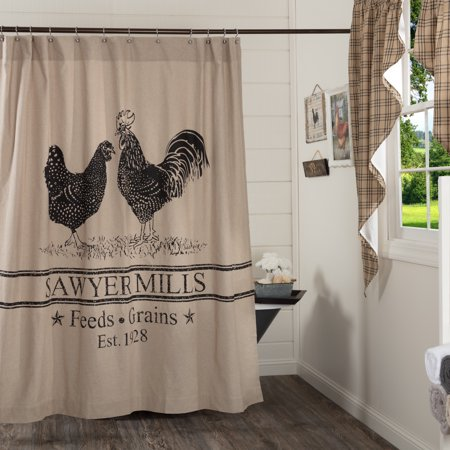 Khaki Tan Farmhouse Bath Miller Farm Charcoal Poultry Rod Pocket Cotton Button Holes for Shower Hooks Stenciled Chambray Nature Print Shower Curtain