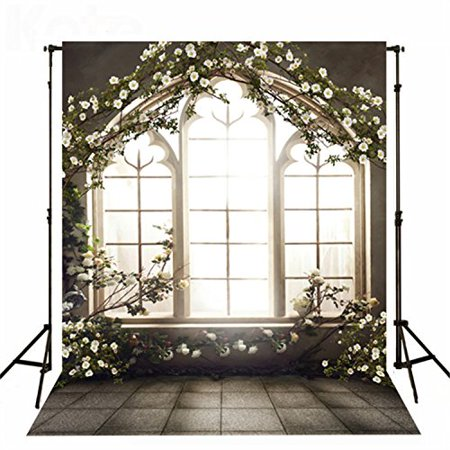 GreenDecor Polyster Flower Arch Indoor Wedding Photo Backdrop 5x7ft Photography Background Bright Windows Black Floor Backdrops](Wedding Photo Backdrop)