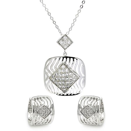 Rhodium Plated Brass Square Open Stripes Clear Diamond Shaped Cubic Zirconia Stud Earring & Dangling Necklace Set