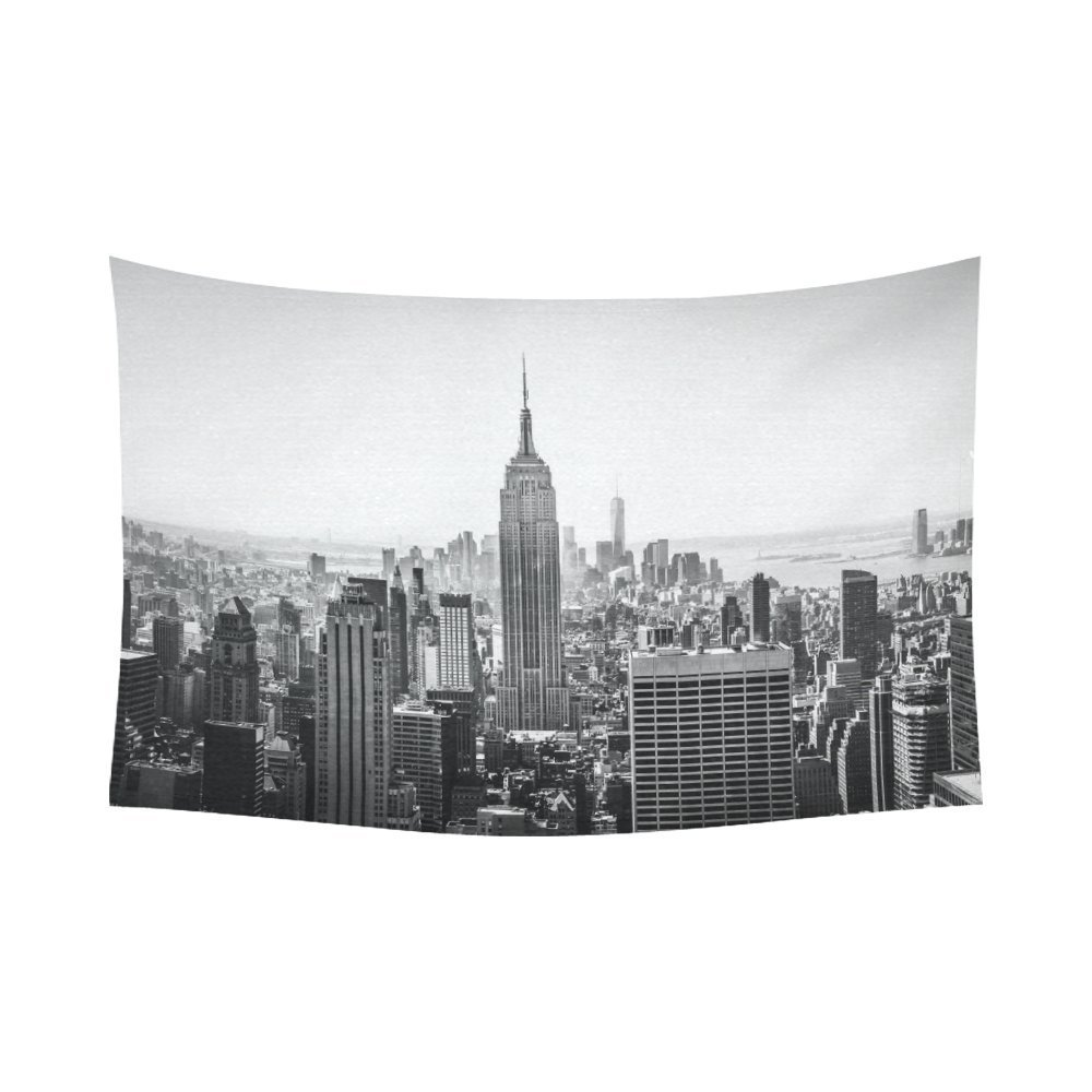 GCKG NYC New York Skyline Cityscape Tapestry Wall Hanging Black