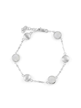 5th & Main Sterling Silver Bead and Bezel Bracelet with Moonstone Round Gemstones