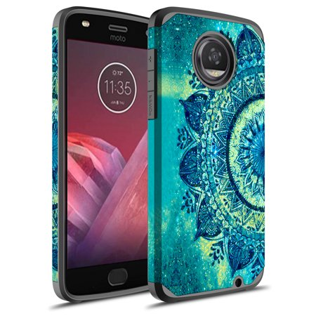 Moto Z2 Play Case, Moto Z Play (2nd Gen.) Case, Rosebono Hybrid Dual Layer Shockproof Hard Cover Graphic Fashion Cute Colorful Silicone Skin Case for Moto Z2 Play - Green Mandala