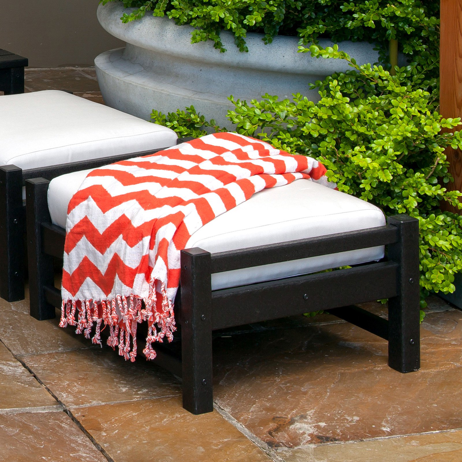 POLYWOOD Club Ottoman - Black / Birds Eye