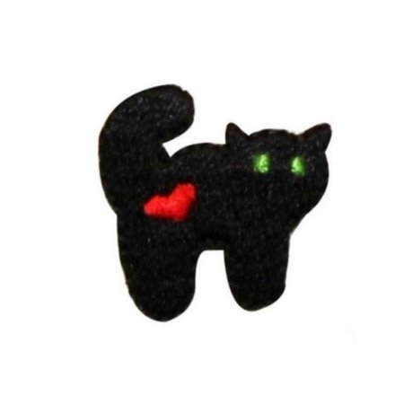 ID 0910A Spooky Black Cat Patch Halloween Heart Embroidered Iron On Applique